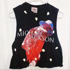 VINTAGE Michael Jackson T-Shirt Crop Daisy Accents